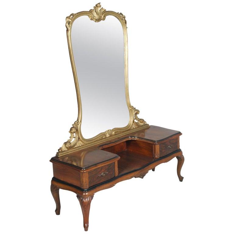 1920s Antique Vanity Baroque Venetian, Beveled Mirror