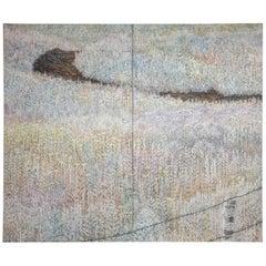 Japanese Two Panel Screen, Walking Trail Through Wild Grasses