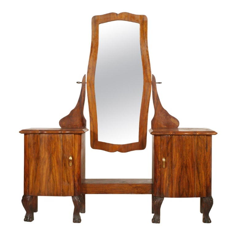 1910s Antique Vanity Art Nouveau With Original Beveled Mirror In Walnut And Burl For Sale At 1stdibs