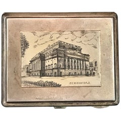 Soviet Sterling & Niello Enamel St. Petersburg Architectural View Box, 1960