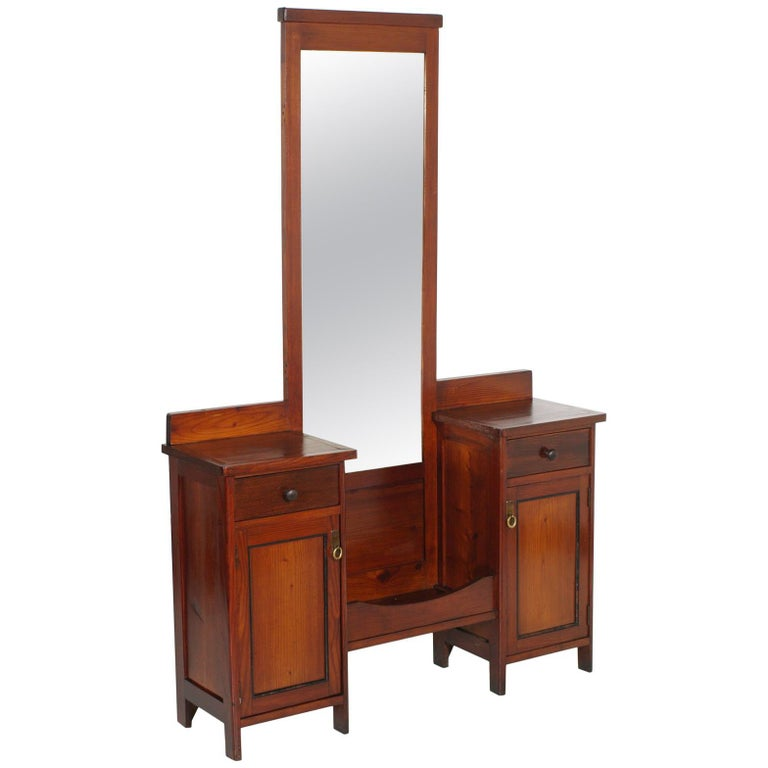 Antique Country Vanity, Entry Mirror with Cabinets, Pine Wax Polished For Sale