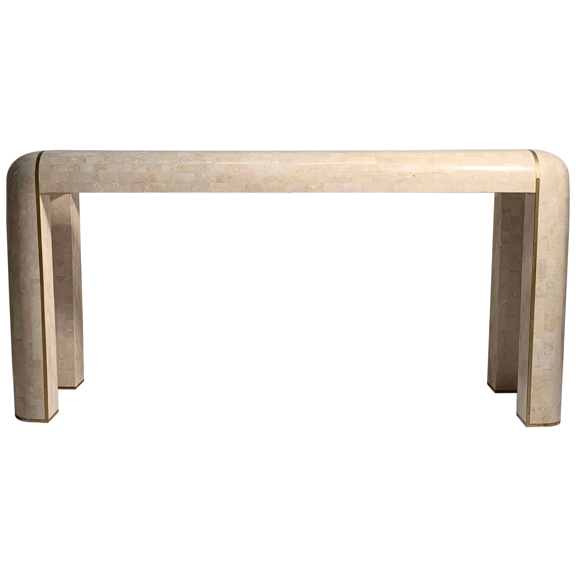 Maitland-Smith Console Tessellated Fossil Mosaic Stone Marble Console Table