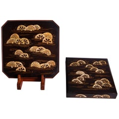 18th Century Japanese Lacquer Writing Box and Tray Set