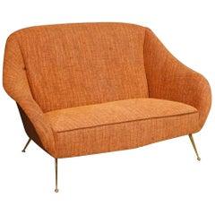 20th Century Carlo De Carli Orange Fabric Italian Design Sofa, 1950