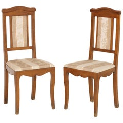 Art Nouveau Pair of Side Chairs in Walnut, Restored, New Upholstered