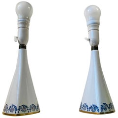 Pair of Midcentury Porcelain Table Lights by Kaiser, Germany, 1950s