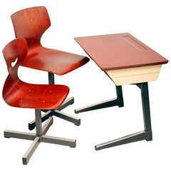 Set of Children Desk or School Bench with Two Flototto Chairs, Germany, 1970s