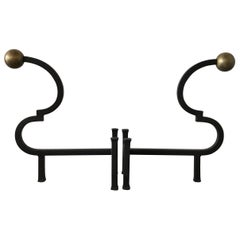 Hand Forged Large Black Iron and Brass Andirons