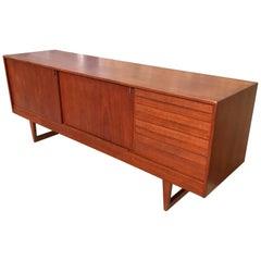 1960s Scandinavian Teak Sleight Cabinet Credenza Sideboard Cabin Modern Rustic