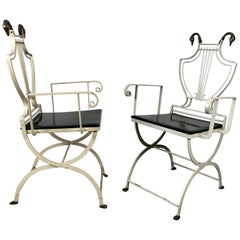 Pair of Iron and Brass Italian Lyre Back Armchairs with Swans, Grosfeld House