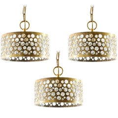 Set of Three Pendant Lights, Patinated Aged Brass Glass, Rupert Nikoll, 1960