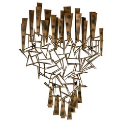 Marc Weinstein Brutalist Midcentury Torch Cut Nailhead Wall Sculpture