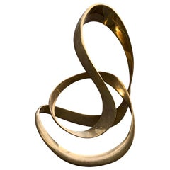 "Large Signed Abstract Brass Sculpture by Tom Bennett, ""e'88"" 1988"
