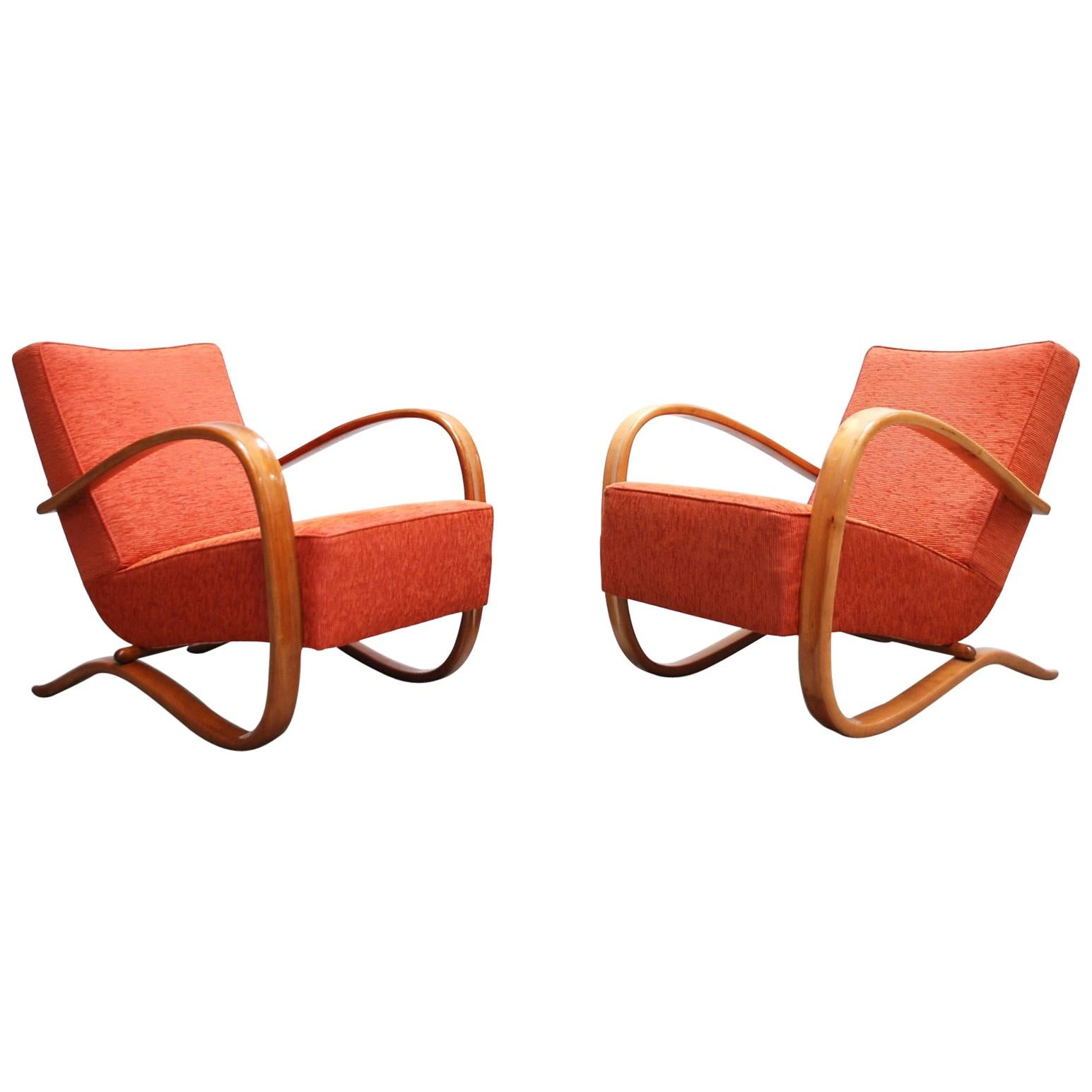 Jindrich Halabala Model H269 Pair of Red Armchairs for Spojené UP Zàvody