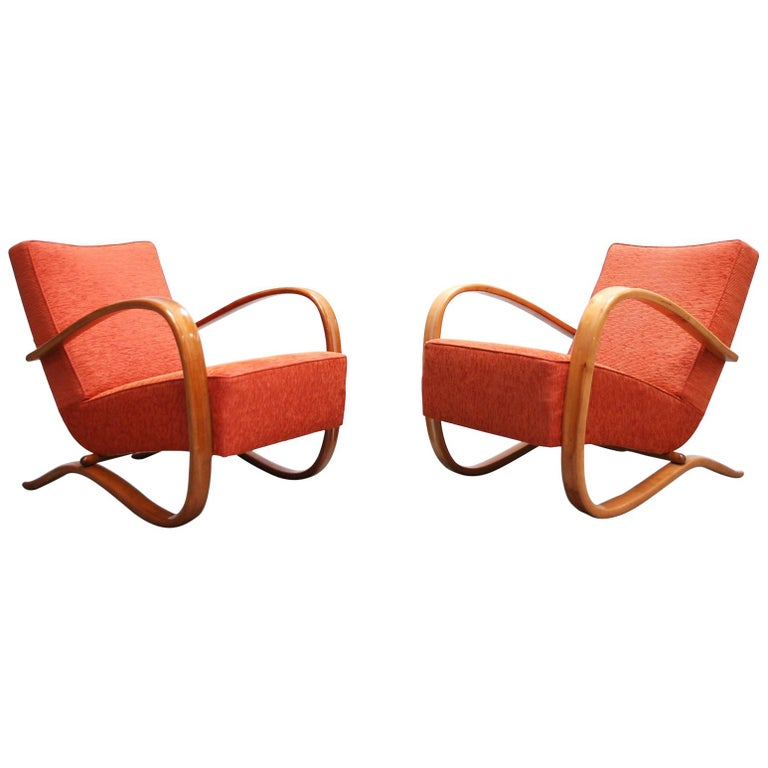 Jindrich Halabala Model H269 Pair Of Red Armchairs For Spojene Up