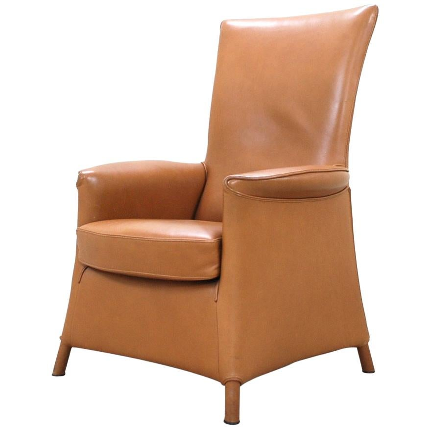 Wittmann Leather Armchair Chair Model Alta Design by Paolo Piva