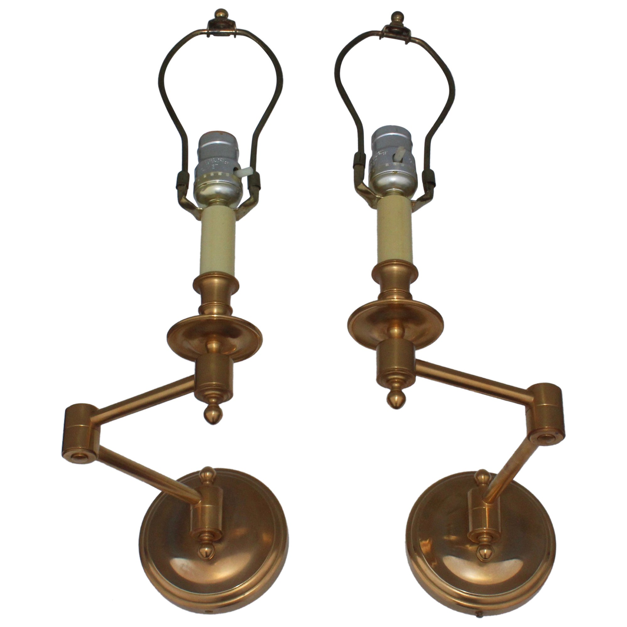 1960s french brass swing arm sconces