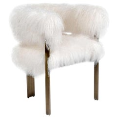 In Stock Sheepskin Armchair in Ivory with Antique Bronze Finished Legs
