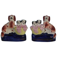 Pair of Staffordshire Spaniel and Pups in Wash Basket