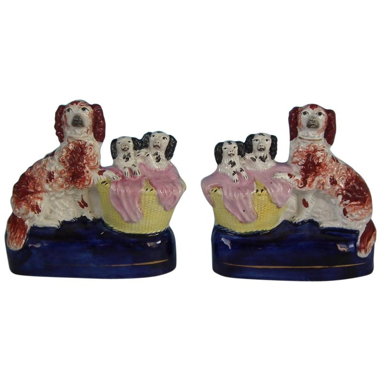 Pair of Staffordshire Spaniel and Pups in Wash Basket For Sale