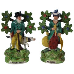 Pair of Pearlware Staffordshire 'Sports Man' & 'Archer' Figures
