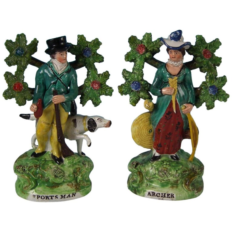 Pair of Pearlware Staffordshire 'Sports Man' & 'Archer' Figures For Sale
