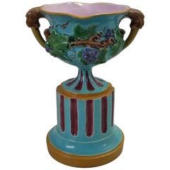 Minton Majolica Two Handled Vase on Pedestal