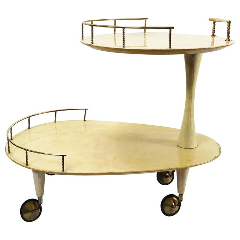 Aldo Tura Goatskin Bar Cart For Sale