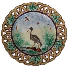 Wedgwood Majolica Heron Plate with Pierced Rim