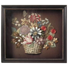 Flowerbasket Raisedwork Embroidery in Shadow Box Frame