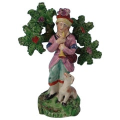 Staffordshire Pearlware Piper with Dog Bocage Figure