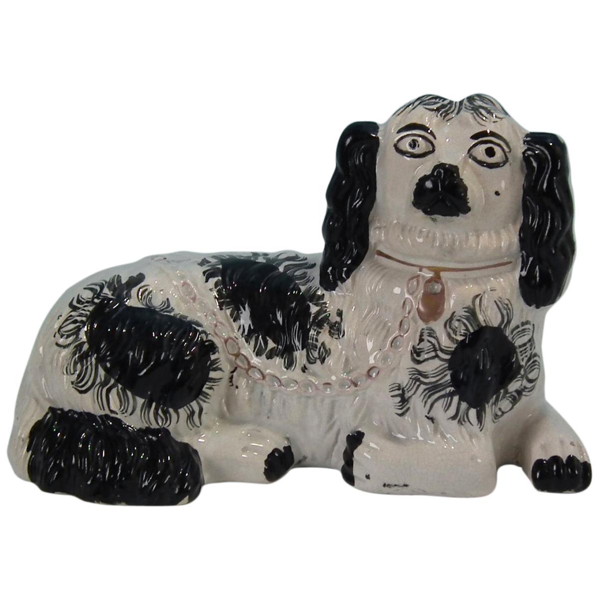 Large Staffordshire Recumbent Black and White Spaniel