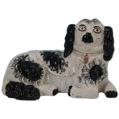 Large Staffordshire Recumbent Black and White Spaniel
