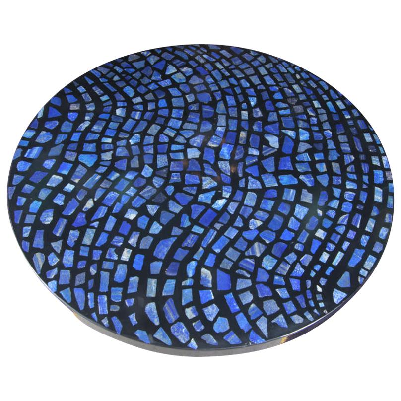 Circular Coffee Table in Black Resin and Lapis Lazuli by E. Allemeersch