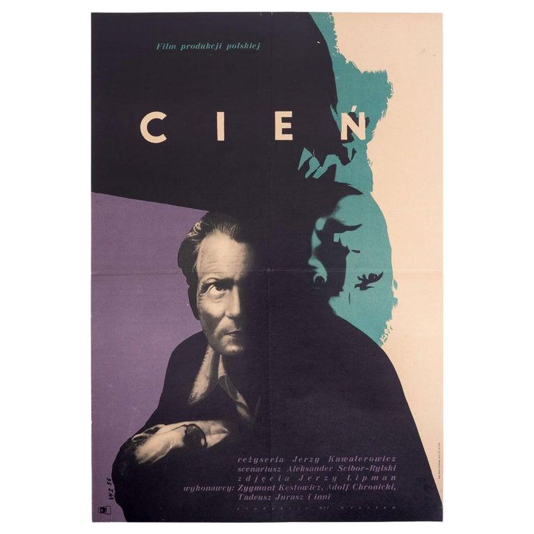 Vintage Polish Cien Movie Poster By Wojciech Zamecznik For Cwf 1956