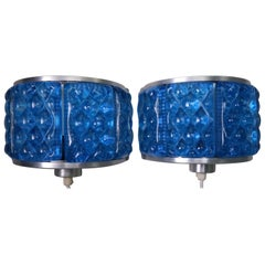 Cobalt Blue Glass Danish Wall Sconces by Orrefors and Vitrika, 1960s