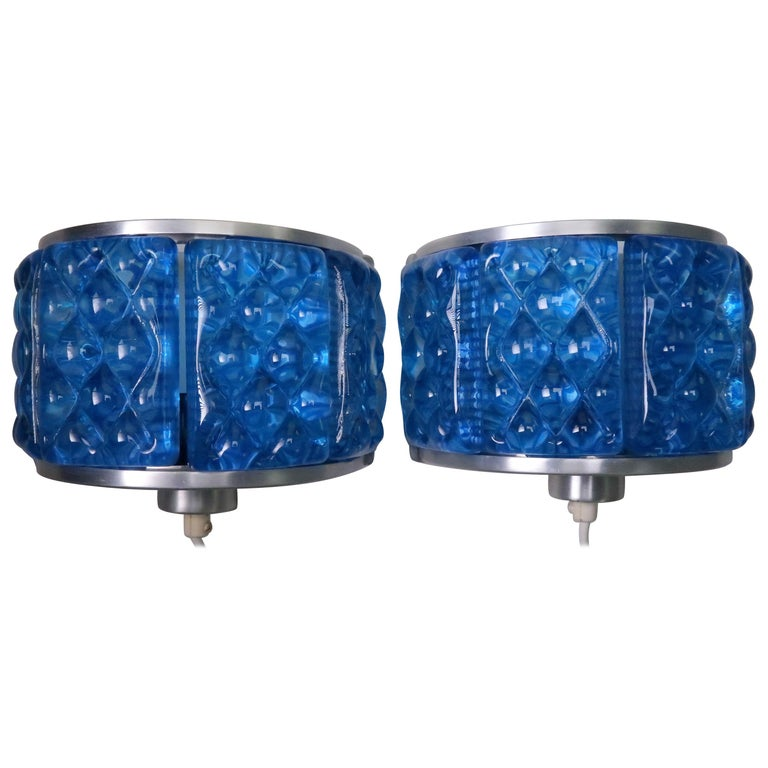 Cobalt Blue 1960s Nordic Art Glass Modernis Wall Sconces by Orrefors and Vitrika For Sale