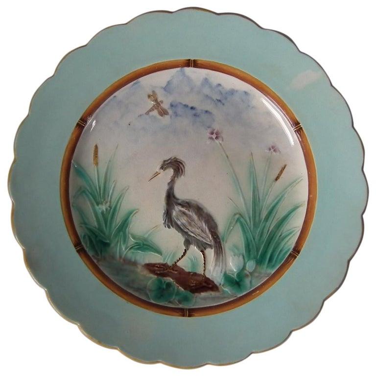 Wedgwood Majolica Heron Plate For Sale