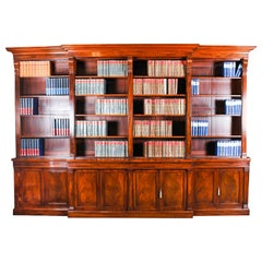 19th Century George IV Regency Flame Mahogany Breakfront Bookcase