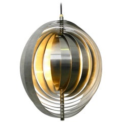 1960s Space Age Moon Lamp Made of Brushed Stainless Steel Solid Construction