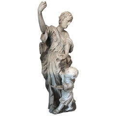 Baroque Statue Angel and Child Figure Stone and Wood