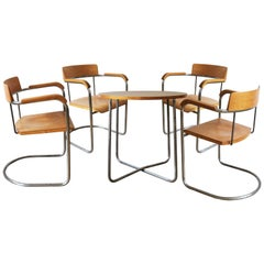 Modernist Dining Set of Four Chairs and Table by the Vichr Company
