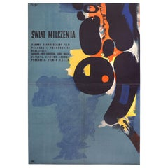 Vintage Polish The Silent World Movie Poster by Wojciech Fangor for CWF, 1958