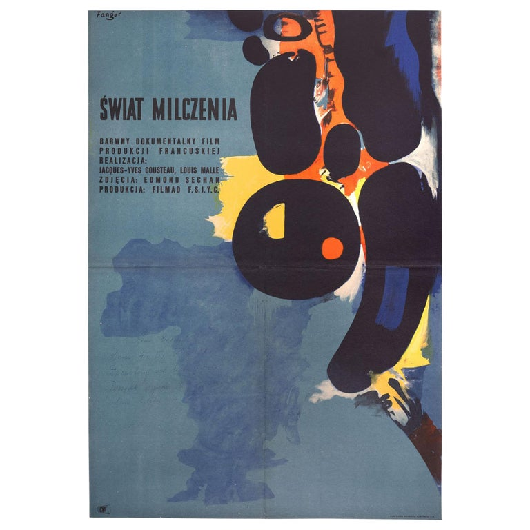 Vintage Polish The Silent World Movie Poster by Wojciech Fangor for CWF, 1958 For Sale