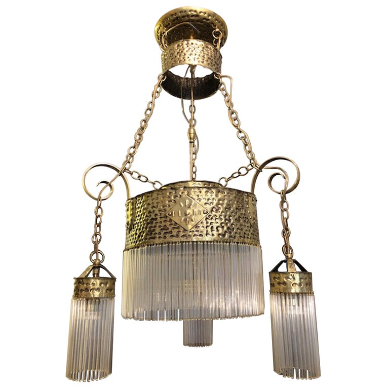 Original Art Deco Hanging Lamp Chandelier Br With Gl Rods