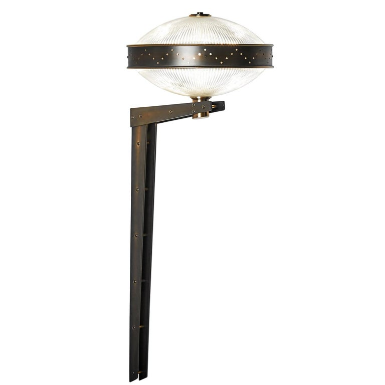 And Objects Bramdean Wall Light, Solid Brass Counter Lever with Prismatic Glass For Sale