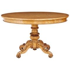 19th Century Swedish Carved Birch Oval Centre Table