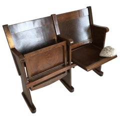 Restored Cinema Chair or Folding Chair Two-Seat