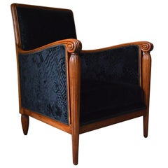 French Art Deco Club Armchair Attributed to Maurice Dufrène, circa 1925