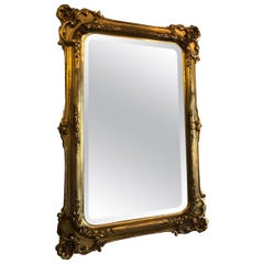 Original Florentine 1860s Antique Mirror, Wooden Gilded Frame